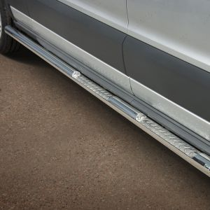 76mm Side Bars Stainless Steel For LWB L3 Ford Transit 14 On