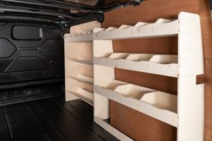 Driver side full-length racking for Ford Transit Custom SWB L1 (V3). Two shelving and toolbox storage units.