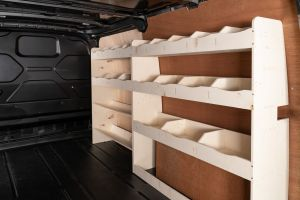 Driver side full-length racking for Ford Transit Custom SWB L1 (V4). Two shelving and toolbox storage units.