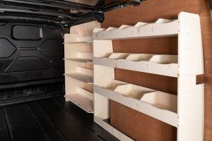 Driver side full-length racking for your Ford Transit Custom SWB L1 (V5). Front Festool and rear shelving.