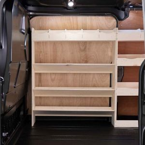 Driver side front four-tier angled toolbox and compartment plywood van storage shelving unit, close-up