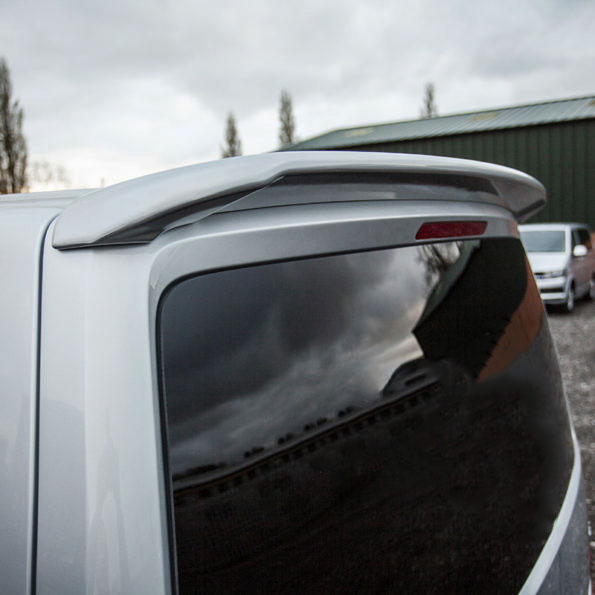 Rear spoiler fitted onto the back of a van
