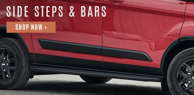 Stainless steel and powder coated black side steps and bars for vans